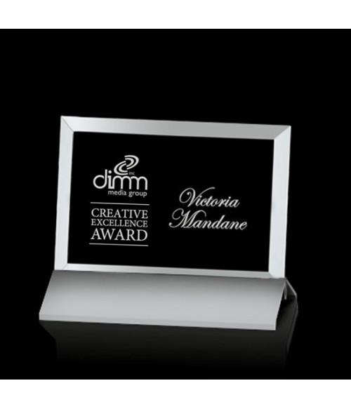 Beveled Rectangle Awards on Metal Base - Horizontal