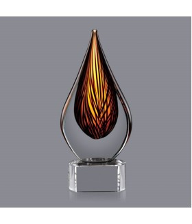 Fire Drop Art Glass w/ Clear or Black base