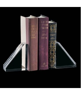 Optic Crystal Bookends w/ Grooves