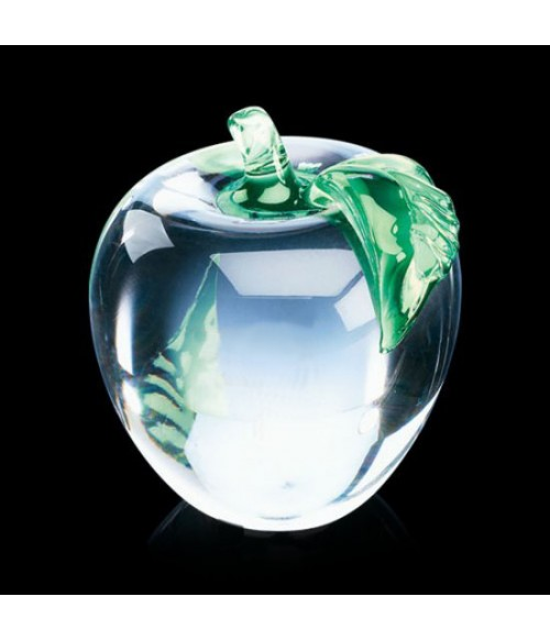 Apple Paperweight (Clear w/ Green Leaf)