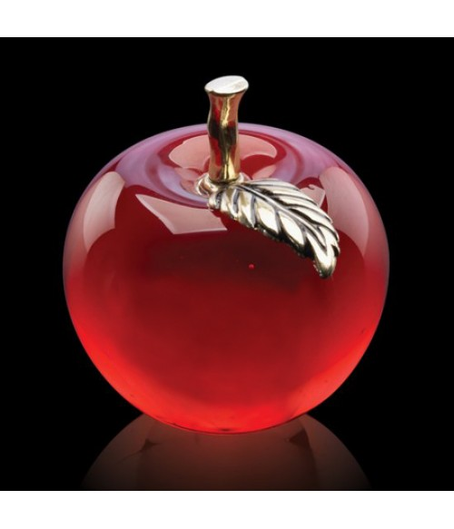 Apple Paperweight (Red w/ Brass Leaf)