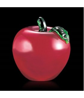 Apple Paperweight (Red w/ Green Leaf)