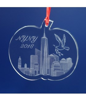 New York City Big Apple Ornament / Suncatcher - Freedom Tower