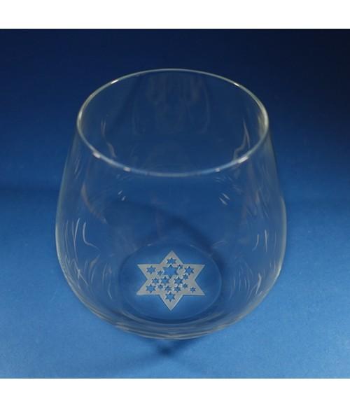 Star of David Stemless Wine Glass