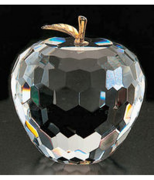 Faceted Cut Crystal Apple Paperweight