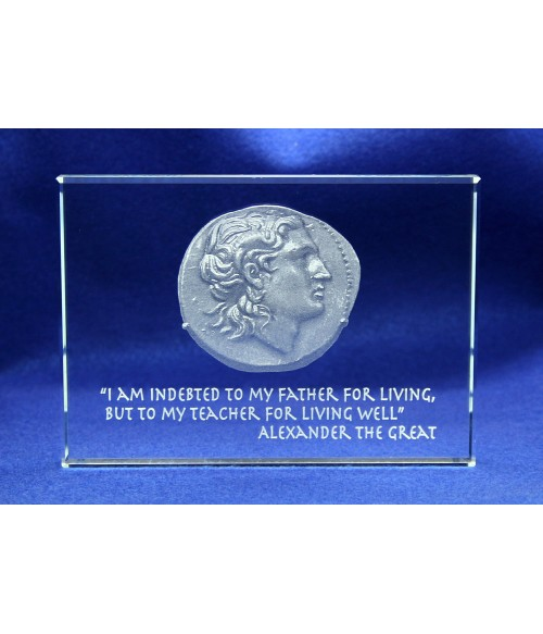 Alexander The Great Paperweight - Sub-Surface Laser Engraving