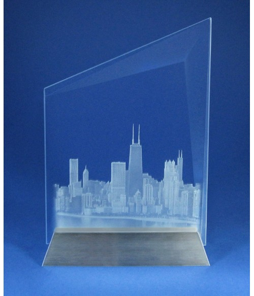 Chicago Skyline Vision Slant Small with Aluminum Base