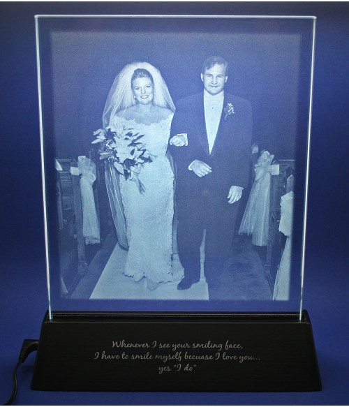 Bride & Groom Luminary Photo, Sub-Surface Laser, Large