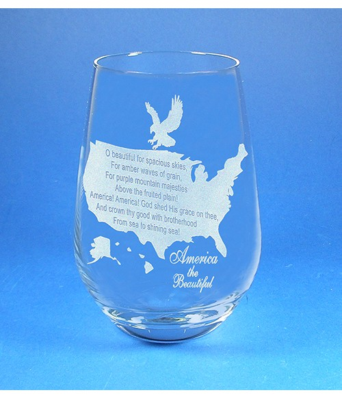 America the Beautiful Stemless Wine Glass