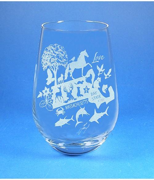 Massachusetts Stemless Wine Glass