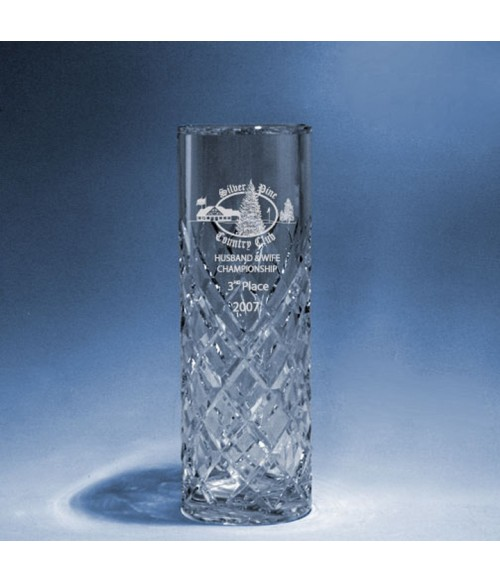 Cut Crystal Cylinder Vase Small